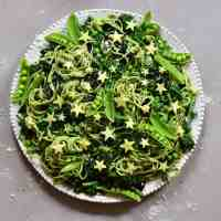 Fresh home-made spinach green pasta salad