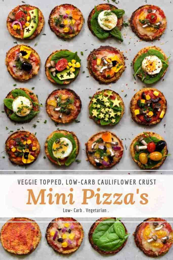 cauliflower base mini pizza's with vegetables and quail egg topping. low-carb snack.