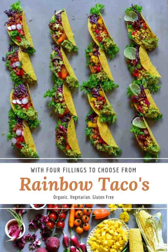 vegan rainbow taco's with mushroom, chickpea, soy and sweet potato fillings. meat free taco recipe