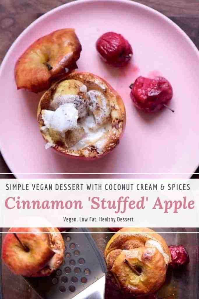 Cinnamon stuffed apple. Vegan baked apple dessert