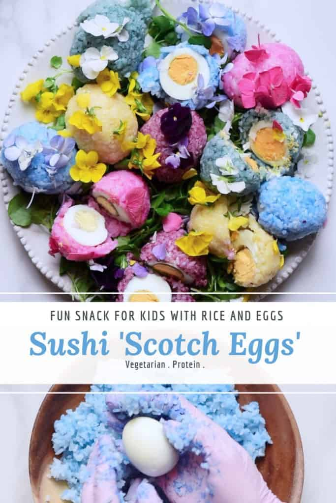 fun naturaly coloured sushi scotch eggs. fun egg recipe