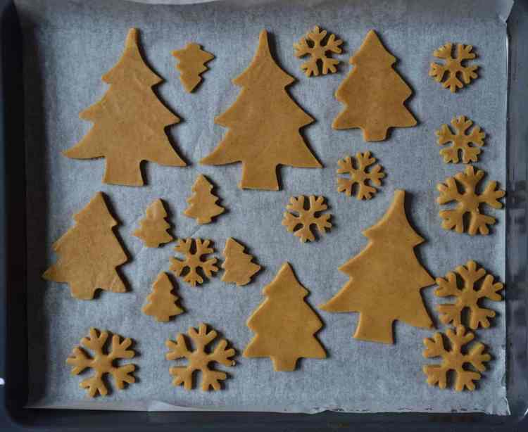 cut out christmas cookies. trees and snowflakes