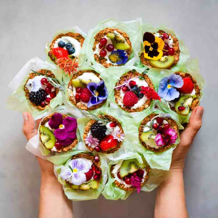 granola cups yogurt berries edible flowers