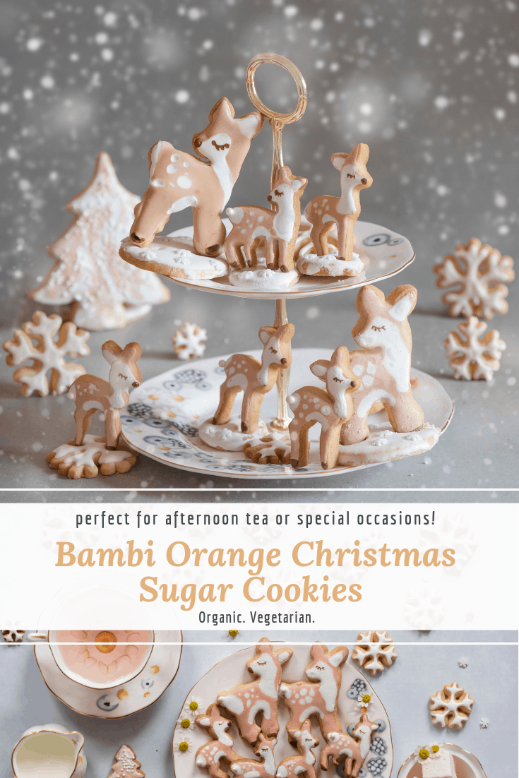 Delicious decorated Christmas sugar cookie recipe. These Orange sugar cookies made into fawn, tree-shaped and snowflake cookies would work perfectly as a Christmas gift or for a Christmas themed party/ afternoon tea.  This post also includes some common troubleshooting issues for homemade sugar cookies.