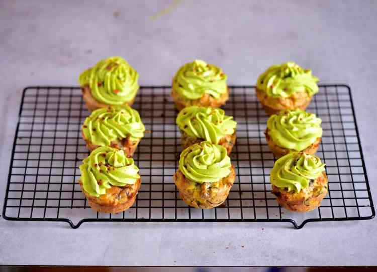 Rainbow mixed vegetable savoury cupcakes with avocado frosting