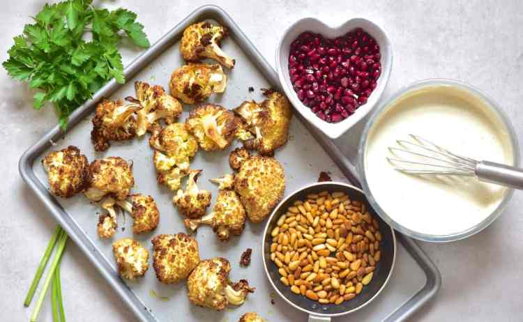 Roasted cauliflower - assembly ingredients