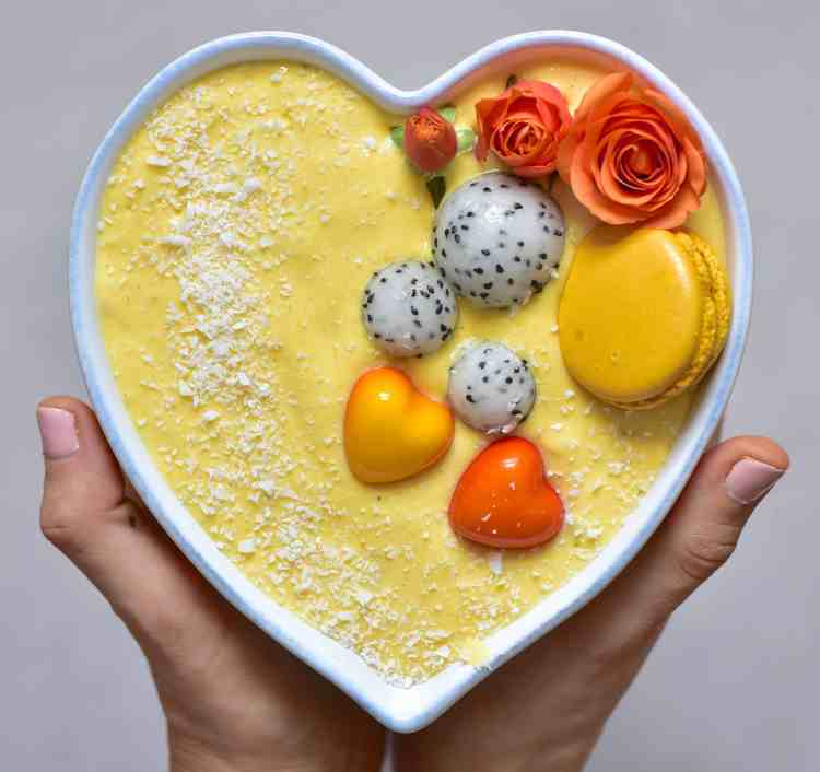 yellow Mango smoothie bowl, healthy breakfast