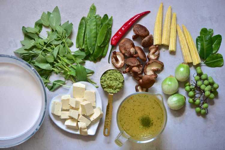 vegan Thai green curry recipe ingredients