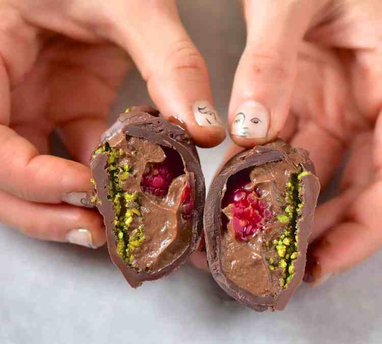 Avocado Chocolate Mousse with Raspberries and Pistachios