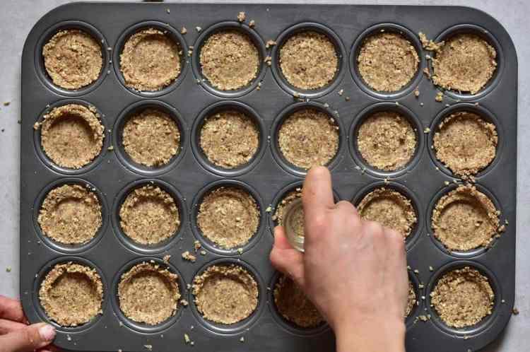 almond base for bite-sized mini vegan tarts