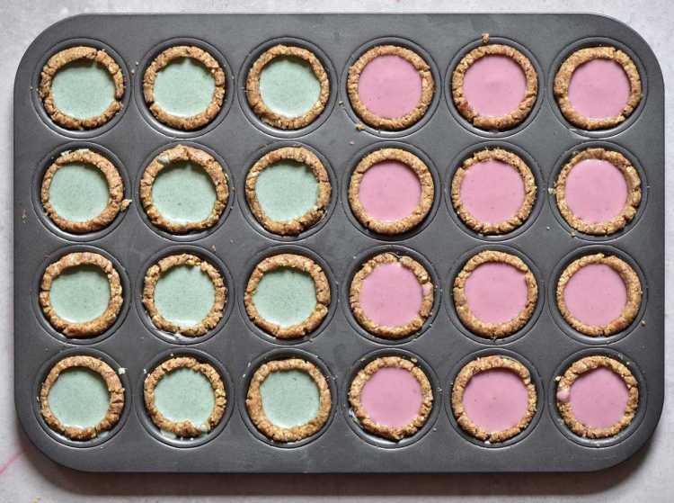 bite-sized Mini Vegan Tarts two ways: Raspberry-rose OR Mint for vegan afternoon tea