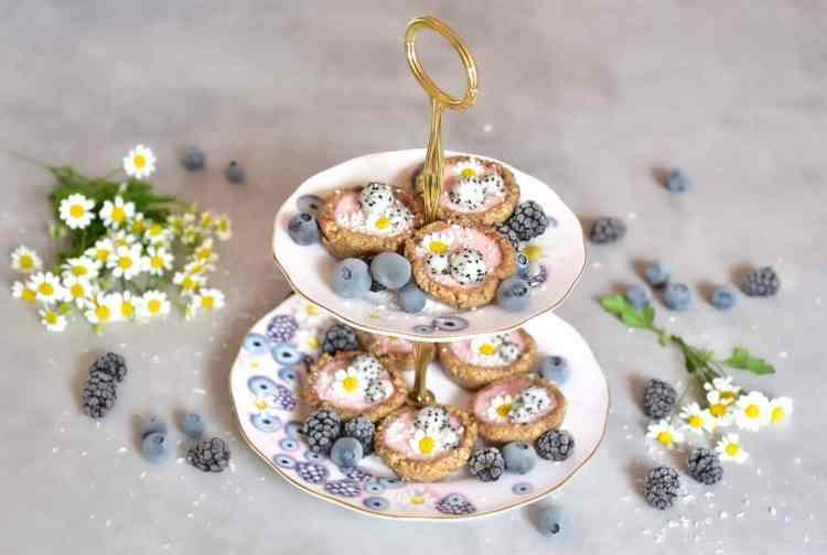 raspberry-rose bite-sized mini vegan tarts on Alphafoodie X Royal Albert tea set for vegan afternoon tea
