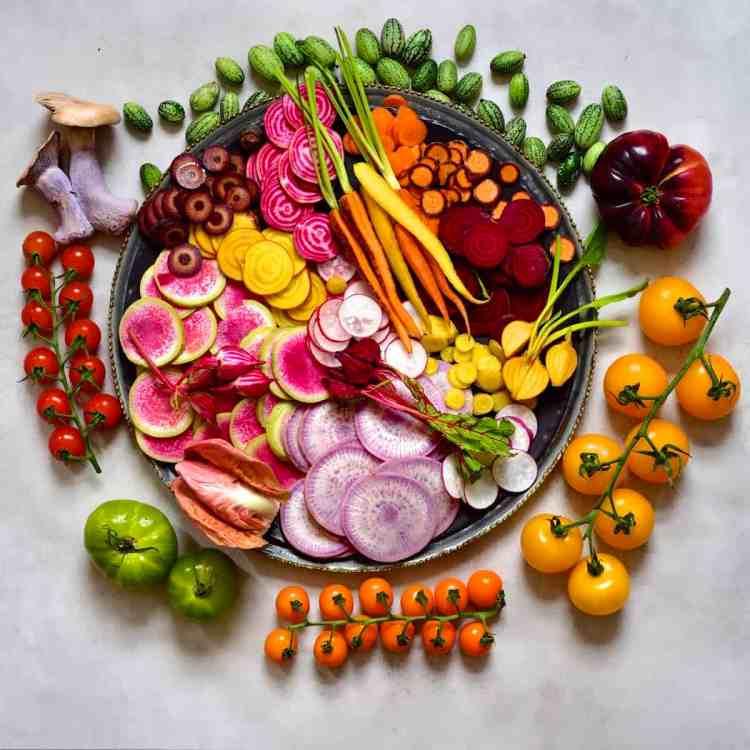 Veggie platter with rainbow veggies as part of a mezze platter