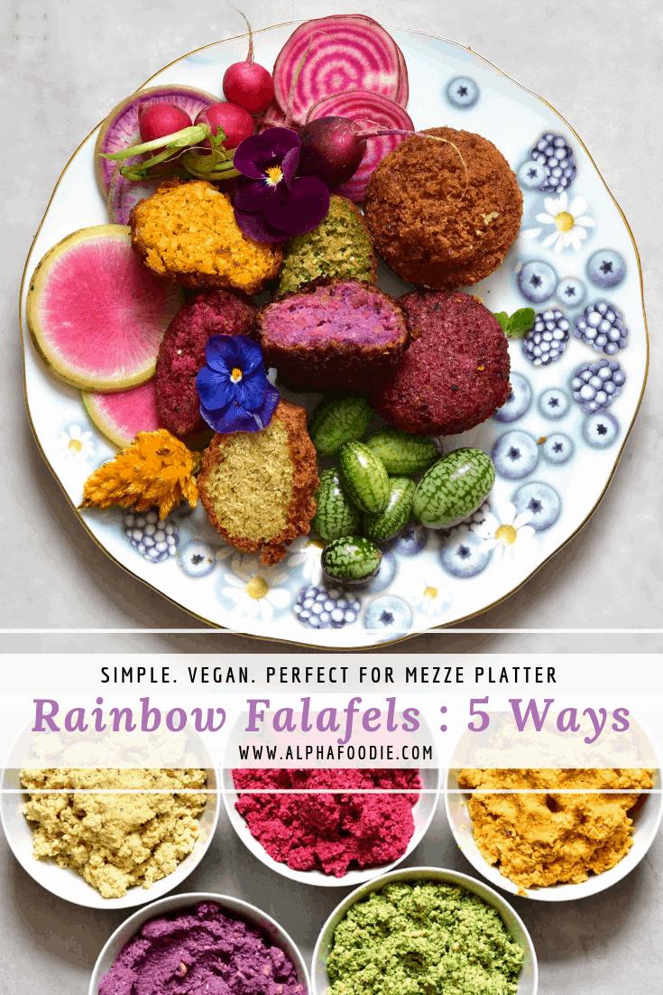 rainbow vegan falafels 5 ways