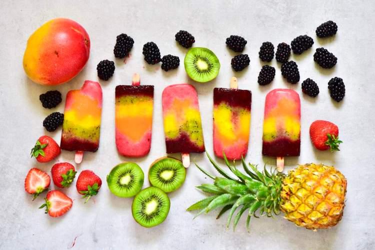 100% fruit Healthy Rainbow Fruit Lollies