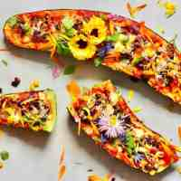 Healthy Rainbow Zucchini Boats