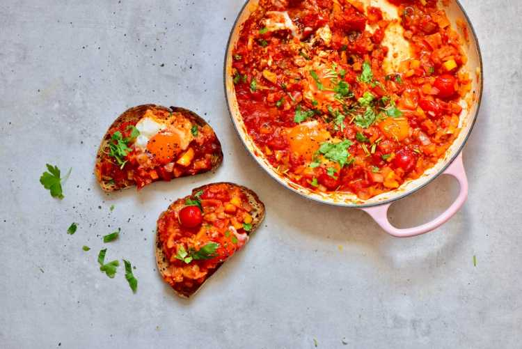 healthy, vegetarian, one pan easy shakshuka recipe