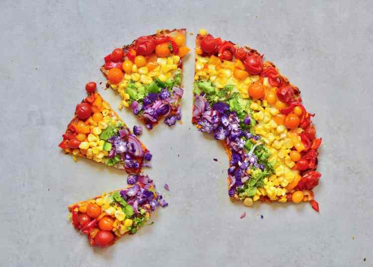 delicious, healthy vegetarian sweet potato crust rainbow pizza is the perfect way to get some of your 5-a-day.