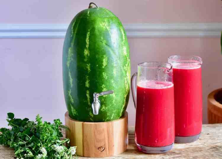 creative way to use watermelon. make a watermelon keg/dispenser in 10 minutes for a fruity party drink and fun watermelon recipe. fresh watermelon juice
