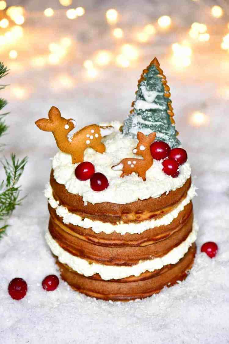 Delicious Christmas fluffy gingerbread pancakes recipe. A wonderful christmas dessert recipe of fluffy pancakes served with coconut whipped cream and berries