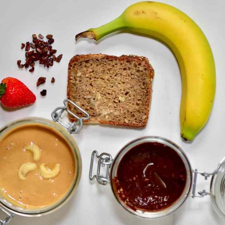 the ingredients for a homemade Christmas bear breakfast toast using homemade cashew butter and homemade vegan nutella