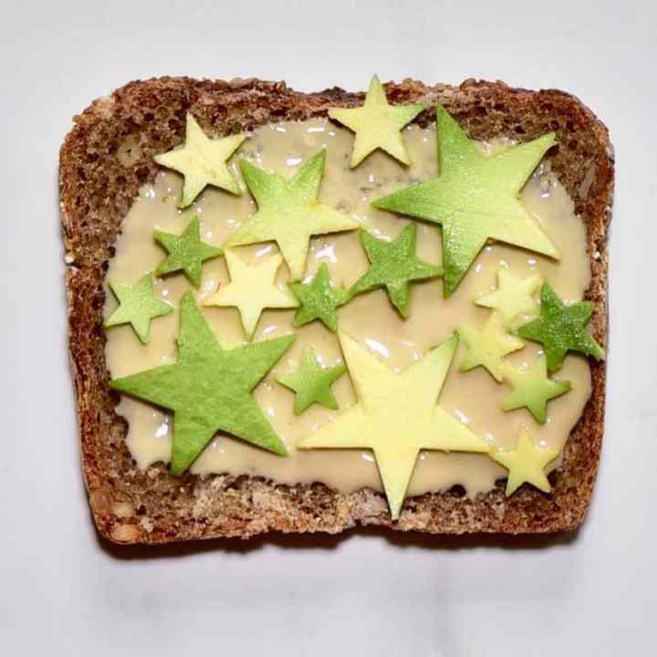 health toast recipe with homemade tahini and avocado stars
