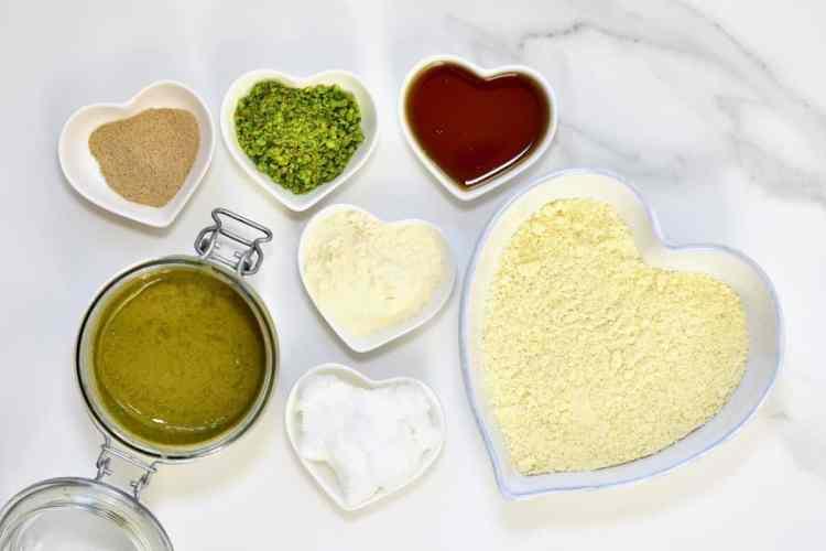 the ingredients for vegan, gluten-free thumbprint cookies