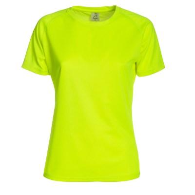 T-shirt maniche corte raglan lavoro donna colore giallo fluo