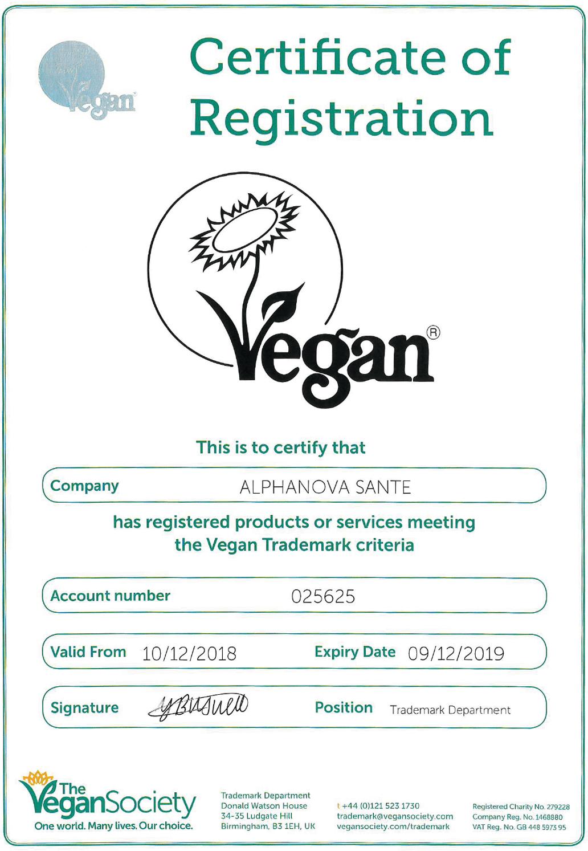 certificat vegan - Alphanova Santé