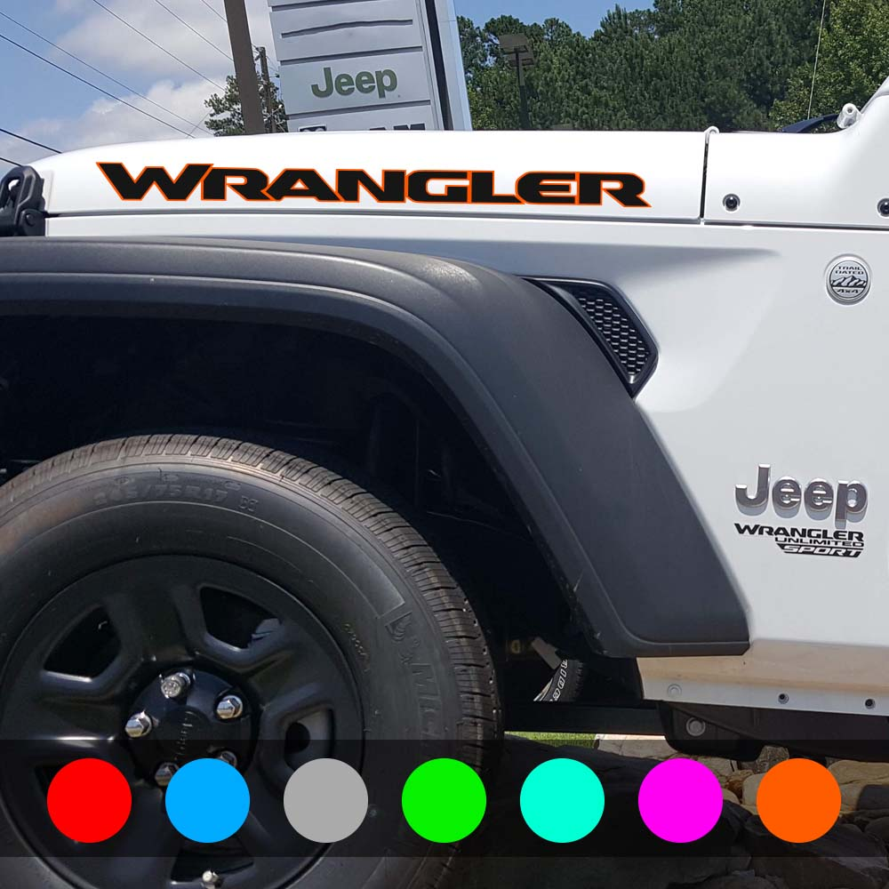 medium resolution of jeep wrangler hood decal jl style orange