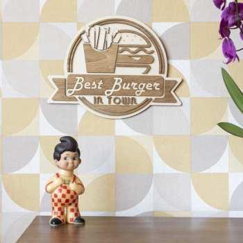 décoration murale intérieur bois cuisine burger usa vintage food streetfood frites