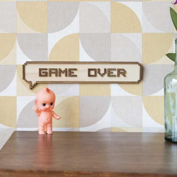 décoration murale intérieur bois pixel jeux vidéos retro gaming game over porte enfant chambre