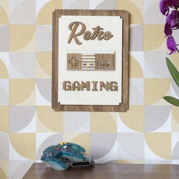 décoration murale intérieur retro gaming vintage bois nes
