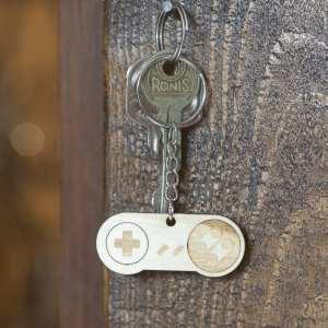 porte clé bois keychain retro vintage snes console manette