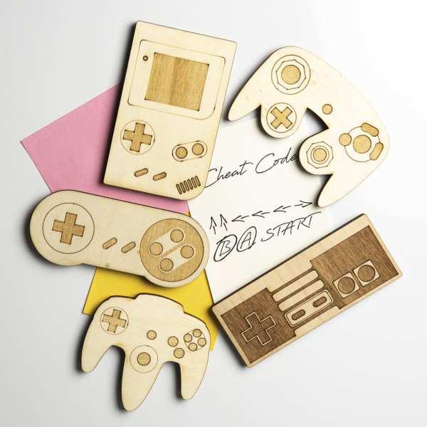 magnet bois gameboy snes nes n64 console manettes jeux vidéos rétro gaming