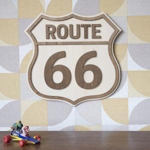 Route 66 – Décoration murale en bois