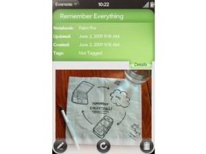 Palm Pre - Evernote app
