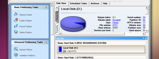 The main Hard Disk Manager 2010 Suite interface exposes a broad range of functions.