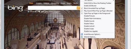 Avant Browser cluttered menus