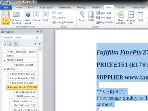 Microsoft Word 2010 - Navigation Pane