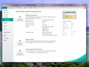 Microsoft Publisher 2010 commercial print settings