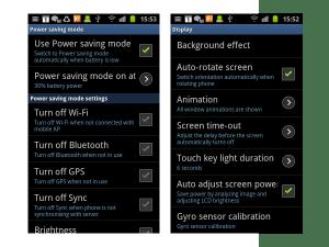Samsung Galaxy SII - power save options