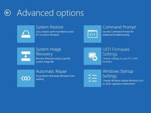 Windows 8 boot advanced screen