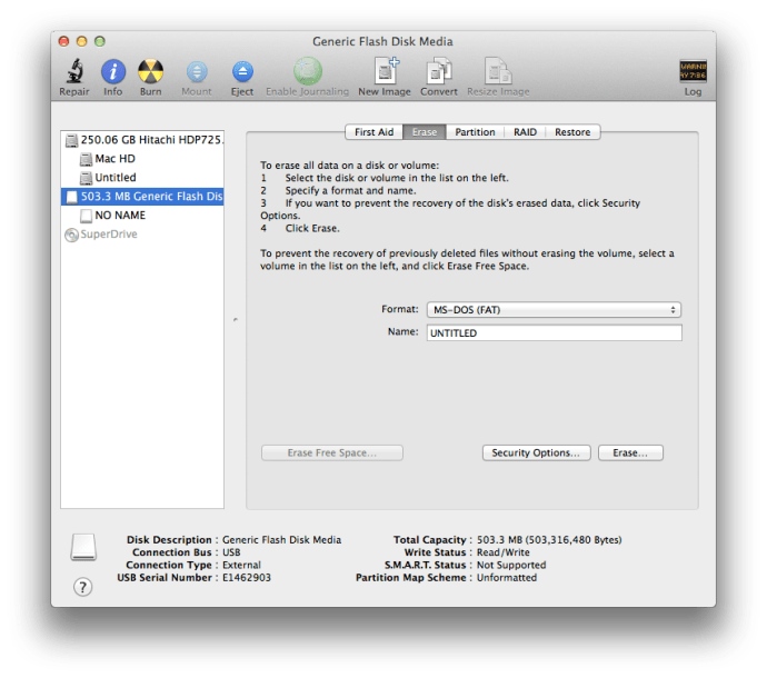 The OS X Disk Utility lets you format flash media in your choice of format