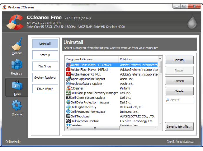 How to uninstall a program on Windows using CCleaner