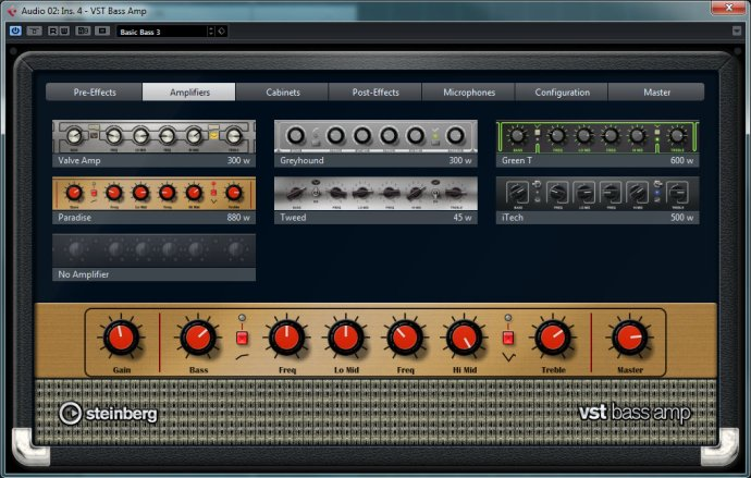 Cubase Pro 8 - virtual Bass Amp