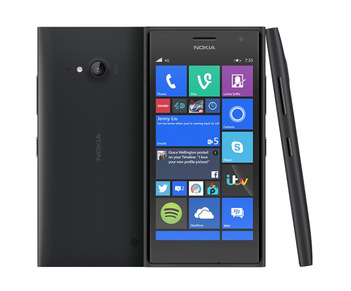 Nokia Lumia 735 review - front, back and side