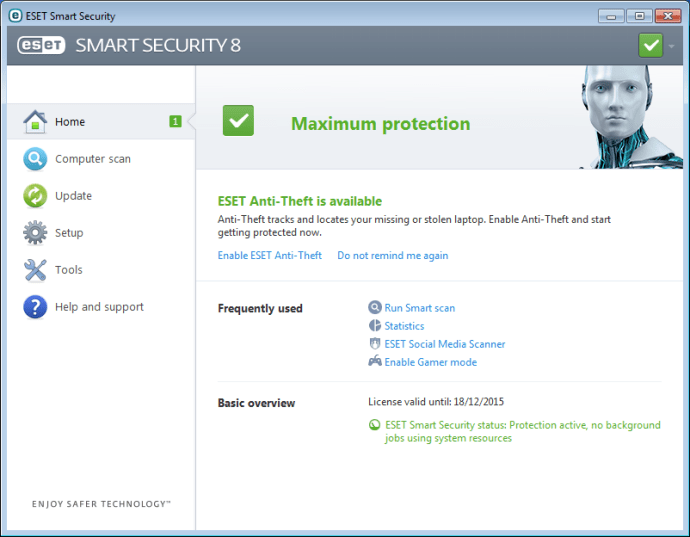 Eset Smart Security 8 review - main interface