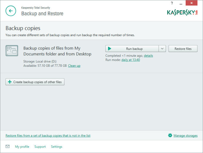 Kaspersky Total Security Multi-Device - Backup