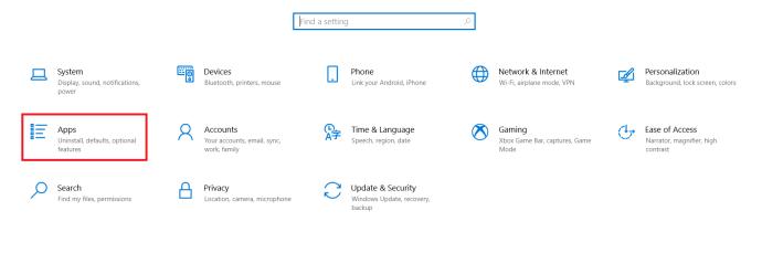 Windows Settings Menu
